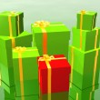 Stock Photo: Gift in 3d over green background