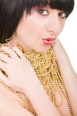 Portrait of fashion woman with gold necklace — Stock Photo