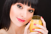Sweet woman with glass of juice — Stock Photo