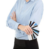 Business woman with a bank cards, isolated on the white backgrou — Stock Photo