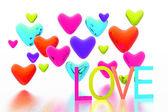 Valentinskarte mit farbigen Herzen Hintergrund — Stockfoto