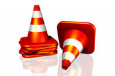 3d traffic cone isolated in white background — Stock Photo