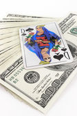 Money dollars and playing cards — Stock Photo
