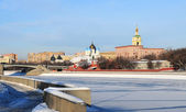 Moscow. Embankment of the Moskva River in the winter. — Stock Photo