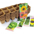 Stock Photo: Peat pots and seeds for planting.