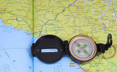 Map and compass. — Stock Photo