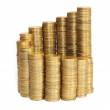 Stock Photo: Stacks of coins, growth chart