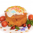 Stock Photo: Easter cake with colored eggs