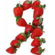 Royalty-Free Stock Photo: The letter I is laid out a ripe strawberry