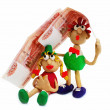 Royalty-Free Stock Photo: With a sweet paradise, and in a tent. Plasticine Men with money
