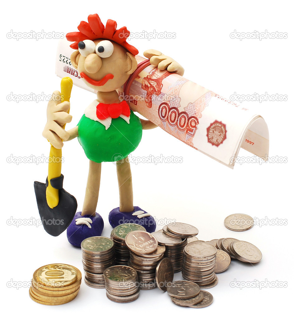 A man with a shovel and money. Easy prey for money — Stockfoto #9974065
