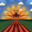 Royalty-Free Stock Vector Image: Airplane Landing at Sunset