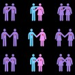Diverse Couples Pictograms — Stock Vector #9170723