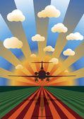 日没の着陸飛行機 — ストックベクタ