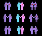 Diverse Couples Pictograms — Vector de stock