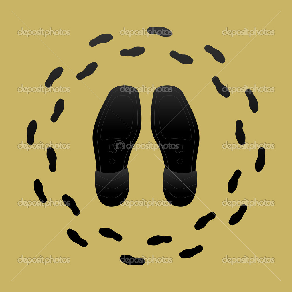 Shoes and Shoe Prints - Stock Illustration