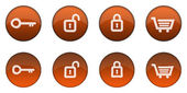 Glossy Orange 3D Web Button Set — Stock Photo
