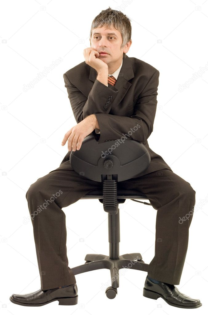 Pensive businessman isolated on white background — Stock Photo #10521980