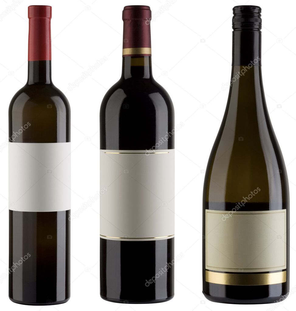 Three unlabeled wine bottles isolated with clipping path — Stock Photo #9154573