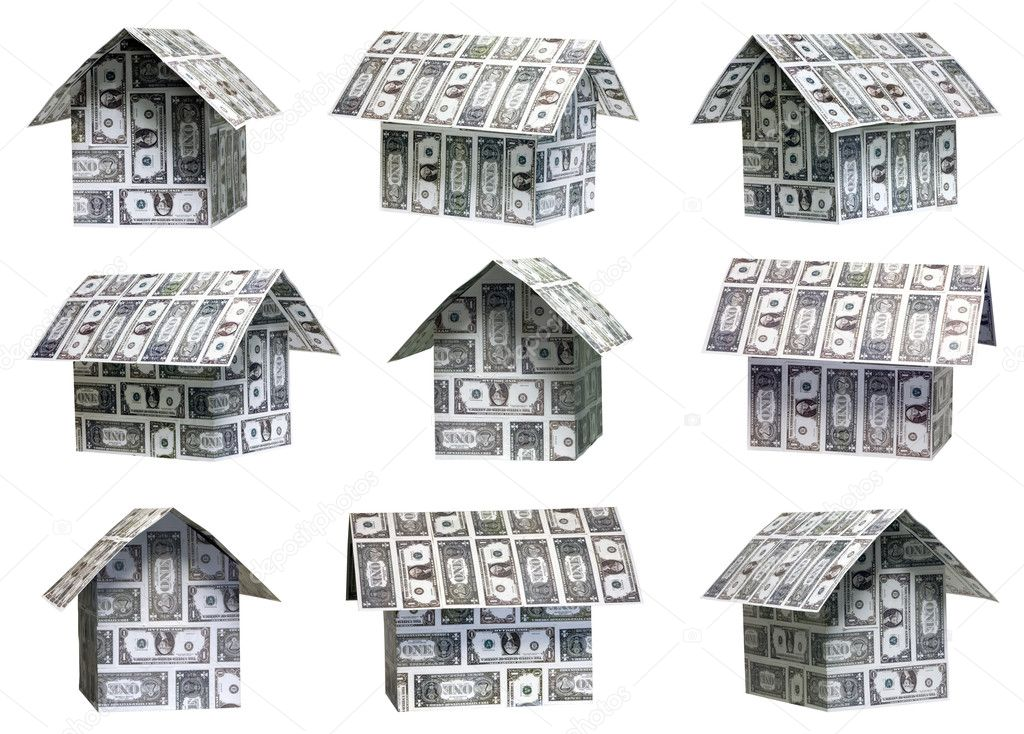 Nine different angles of dollar houses — Stock Photo #9232969