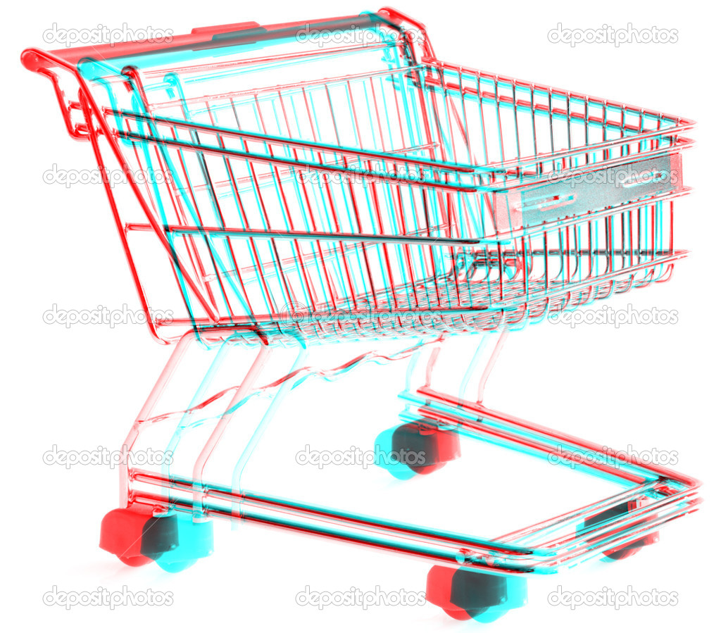 3D Anaglyph of shopping trolley isolated on white background, for viewing stereo glasses are needed  Stock Photo #9270398