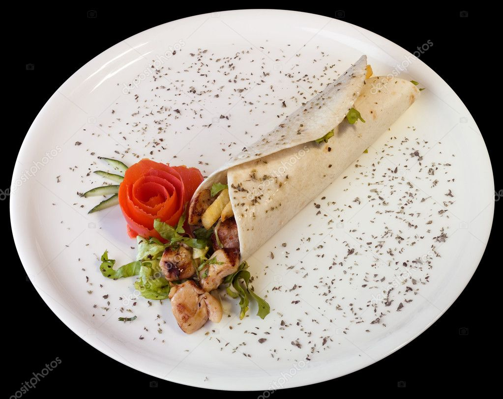 Turkish kebab on white plate cutout with clipping path on black background — Stock Photo #9711752
