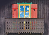 Wooden chalet balcony — Stock Photo