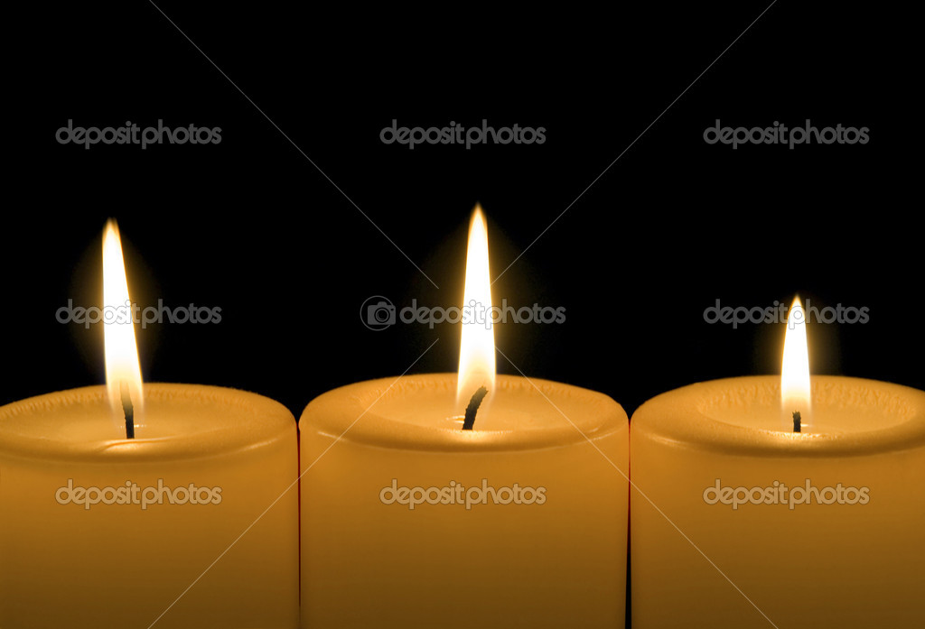 Three burning candles — Foto de Stock   #9820393