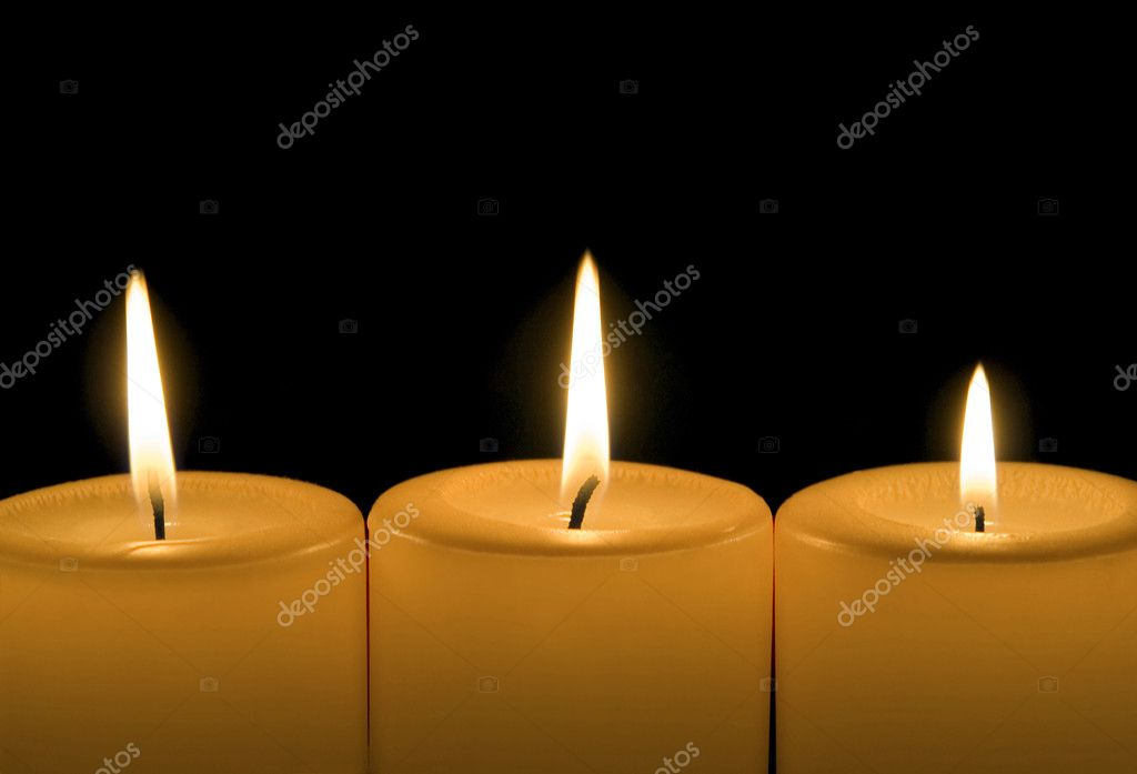 Three burning candles — Foto Stock #9820393