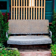 The Old rattan bench - Stock Photo