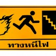 Stock Photo: Guide post of fire escape thai text isolated on white backgr