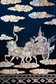The Buried pearl of thai art on wood — 图库照片