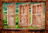The Old wooden window with view mountain — Stok fotoğraf