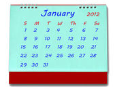 The Calendar of january 2012 isolated on white background — Stock Photo