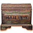 Stock Photo: The Old wooden mail box isolated on white background