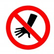 Stock Photo: The Sign of no hand throwing isolated on white background
