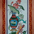 Stock Photo: Colorful of old painting on wall in joss house. This is trad