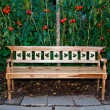 The Wooden bench on tomato garden background — Stock Photo