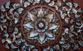 The Old carving wood ornament of flower pattern thai style — Stock Photo