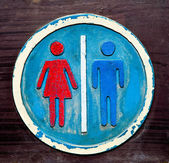 The Old sign restroom of male and female — Stock Photo