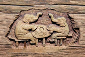 The Carving wood of meal elephant — Stock Photo