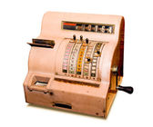 The old cash register isolated on a white background — Stock Photo