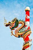 The Dragon status on pole in joss house — Stock Photo