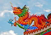 The Colorful of dragon on roof of joss house — Stock Photo