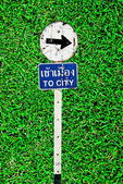 The Sign of to city on green grass background — Stock Photo