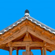 The Ancient roof of korea style on blue sky background — Stock Photo