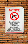 The Sign of no weapon allowed isolated on wall background — Stock Photo