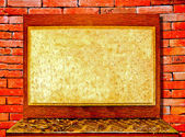 The Vinatge board and desk on brickwall background — Stok fotoğraf