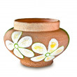The Earthenware pot of flower pattern isolated on white backgrou — Stock Photo