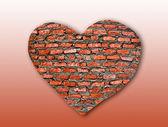 Tegel hjärtat på bakgrundsstruktur — Stockfoto